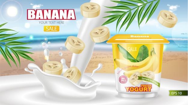 Banner de iogurte de banana
