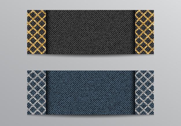 Banner de jeans preto e azul com treliça brilhante