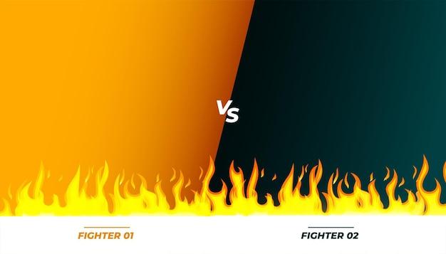 Banner de jogo contra vs luta com chamas