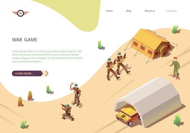 Banner de jogo de guerra com o acampamento do exército de treinamento militar
