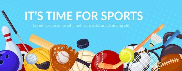 Banner de jogos de esporte com equipamentos esportivos, tênis, vôlei, futebol, desenho animado, bola, atividade esportiva