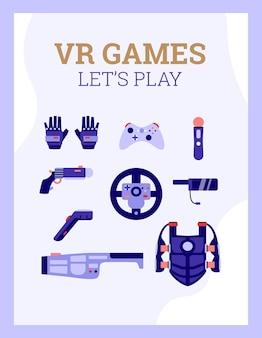Banner de jogos vr com equipamento especial para ilustração de desenhos animados de jogos d