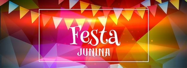 Banner de junina de festa colorido abstrato
