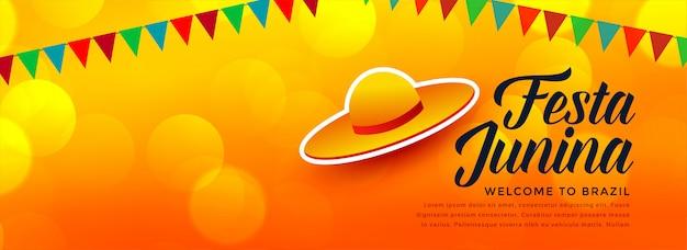 Banner de junina de festa de design de chapéu tradicional