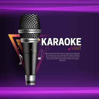 Banner de karaokê ao vivo com microfone