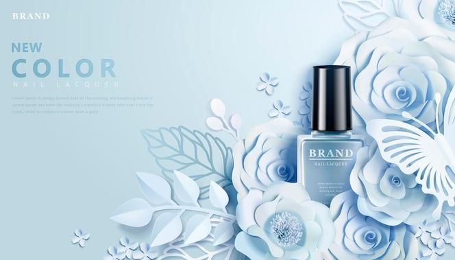 Banner de laca azul claro com decoração de arte em papel de flores em estilo 3d