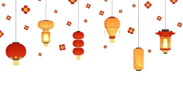 Banner de lanternas asiáticas. fundo de ano novo, festival ou festa chinês. lâmpadas de suspensão de papel liso e ilustração vetorial de flores caindo. bandeira do feriado de ano novo na china comemora