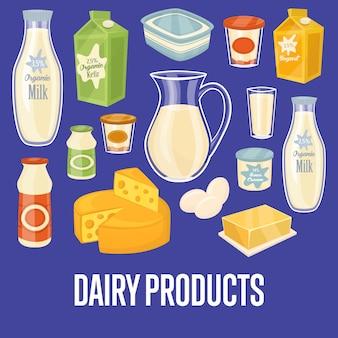 Banner de laticínios com ícones de alimentos naturais