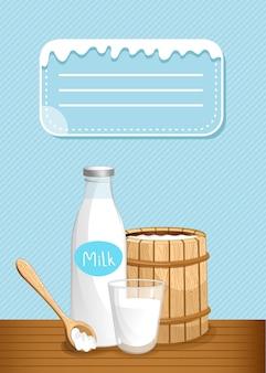 Banner de laticínios com produtos lácteos
