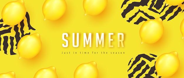 Banner de layout de verão amarelo.