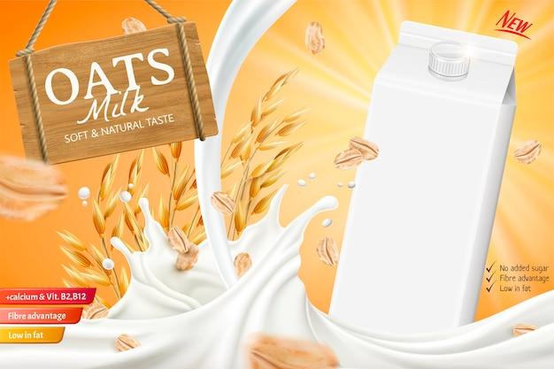 Banner de leite de aveia com líquido giratório e caixa de papelão em branco na ilustração 3d