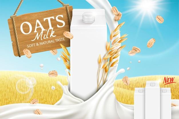 Banner de leite de aveia com líquido giratório e caixa de papelão em branco no campo de grãos dourados na ilustração 3d