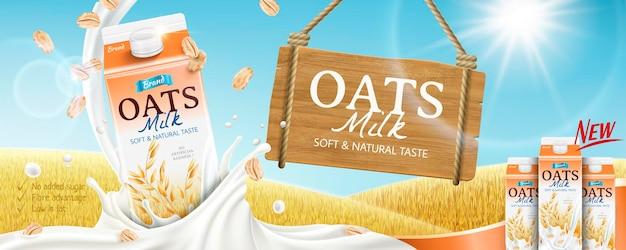 Banner de leite de aveia com respingos de líquido no campo de grãos dourados