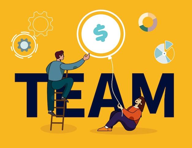 Banner de letras de equipe com pessoas colaboradoras