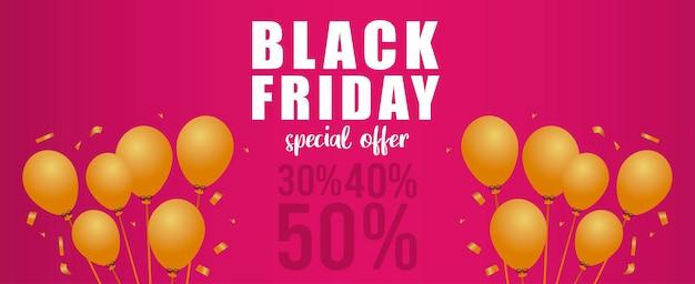 Banner de letras de venda de sexta-feira negra com balões dourados de hélio em fundo rosa
