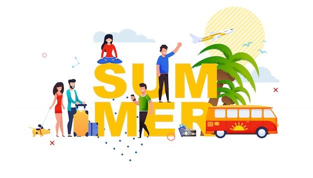 Banner de letras de verão com pessoas pequenas dos desenhos animados.