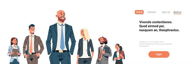Banner de líder de equipe de pessoas de negócios