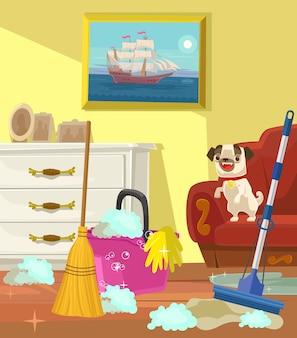 Banner de limpeza. sala de estar.