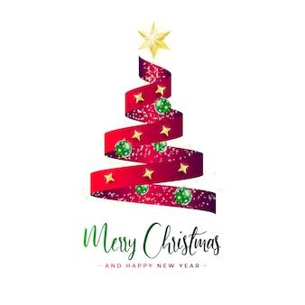 Banner de linda árvore de natal com fita vermelha