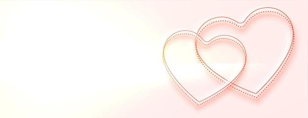 Banner de lindos corações com espaço de texto