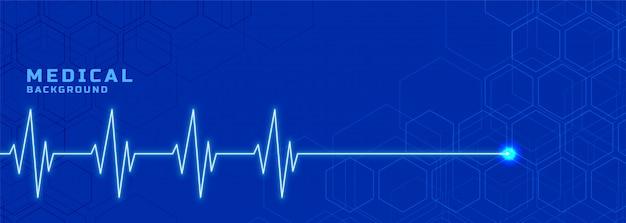 Banner de linha de batimento cardíaco medial para o setor de saúde