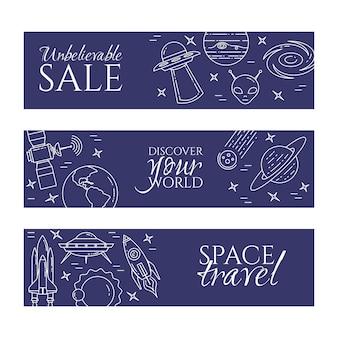 Banner de linha de espaço com pictogramas de tema cosmos.