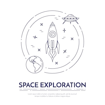 Banner de linha de exploração do espaço com pictogramas de tema cosmos.