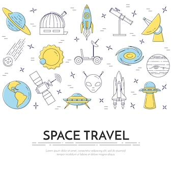 Banner de linha de viagens espaciais com pictogramas de cosmos.