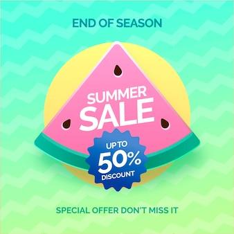 Banner de liquidação de final de temporada de verão com melancia