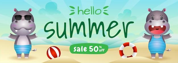 Banner de liquidação de verão com um hipopótamo fofo na praia