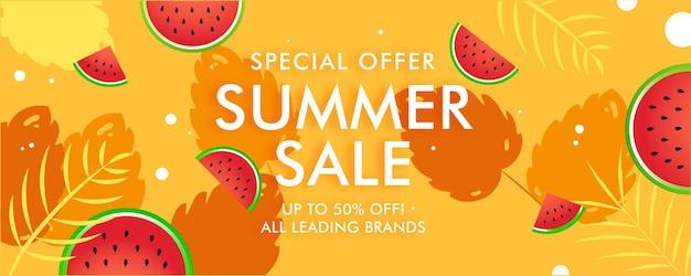 Banner de liquidação de verão no final da temporada, fruta melancia