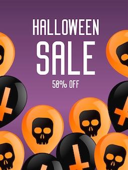 Banner de livreto de halloween. fundo roxo com balões, com cruzes e caveiras.