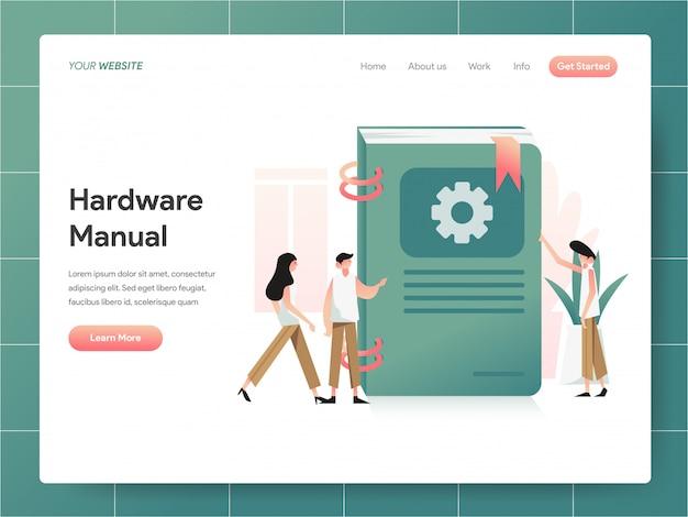 Banner de livro manual de hardware da página de destino