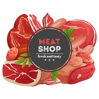 Banner de loja de carne com ilustração vetorial de produtos de carne