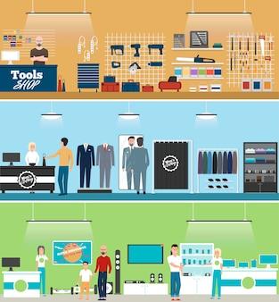 Banner de loja de ferramentas, loja de eletrônicos e loja de roupas masculinas com compradores
