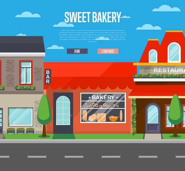 Banner de loja de padaria doce em design plano