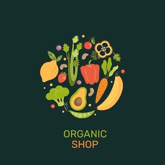 Banner de loja orgânica com desenhos animados de vegetais, bagas, frutas.