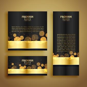 Banner de luxo dourado brilhante bokeh