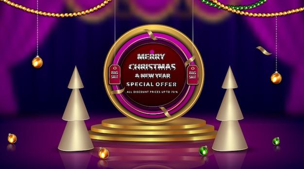 Banner de luxo feliz natal e ano novo com diamantes e elementos de moldura dourada