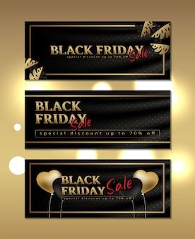 Banner de luxo preto sexta-feira em seda com moldura dourada