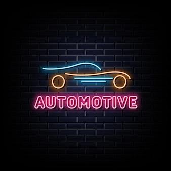 Banner de luz de elemento de design de sinal de néon automotivo