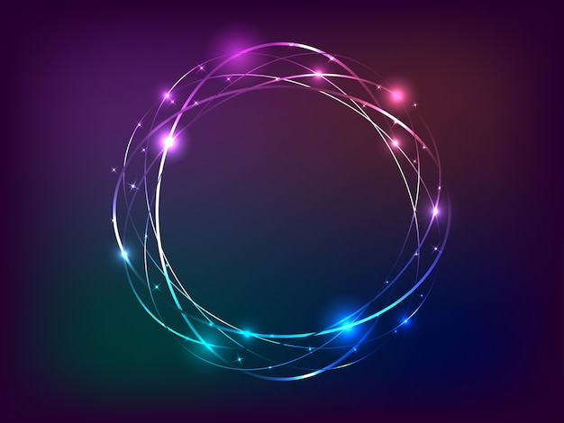 Banner de luz de néon do círculo com espaço livre para o texto