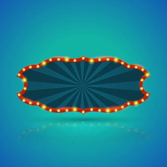 Banner de luz retrô abstrata com lâmpadas no contorno