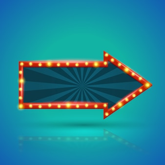 Banner de luz retrô de seta com lâmpadas no contorno