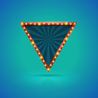 Banner de luz retrô de triângulo com lâmpadas no contorno