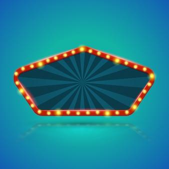 Banner de luz retrô do pentágono com lâmpadas no contorno