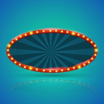 Banner de luz retrô oval com lâmpadas no contorno