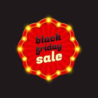 Banner de luz retrô preto venda sexta-feira