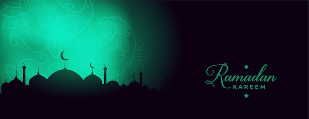 Banner de luzes brilhantes ramadan kareem