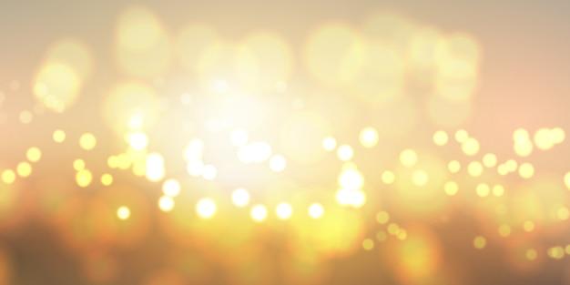 Banner de luzes douradas bokeh